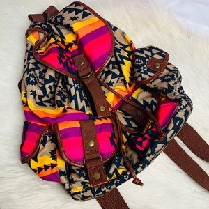 Neon and tribal print backpack